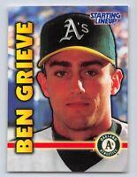 1999  BEN GRIEVE - Starting Lineup Card - OAKLAND ATHLETICS
