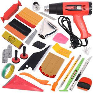 PRO Vinyl Squeegee Kit Car Wrap Application Tools Window Tint Felt Heat Gun Set