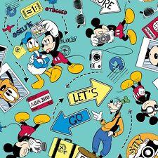 "Disney Mickey Mouse - Mickey Let's Go Explore! Cotton Fabric Yardage 44"" W    I2"
