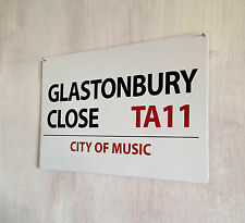Glastonbury Close Music Festival A4 metal plaque Shabby Chic picture home deco