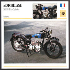 1929 Motobecane 500cc B5 Four-Cylinder 477 Motorcycle Photo Spec Sheet Info Card