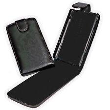 Vertikal Flip Style Handy Tasche Hülle Cover Case in Schwarz für  HTC Wildfire S