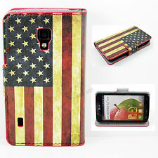 Fashion US Flag Leather Stand Wallet Card Case Cover For LG Optimus L7 II P715