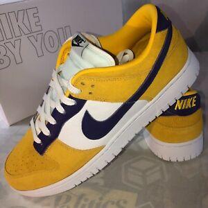 NIB Nike ID Dunk Low Size 12 LA Lakers Version Yellow Suede Purple