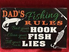 Father's Day Dad Fishing Rules Husband Man Cave Gift Garage Wooden Sign Plaque