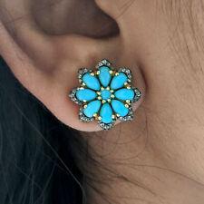 Turquoise Gemstone 14K Gold Stud Earrings 925 Silver Diamond Wedding Jewelry New