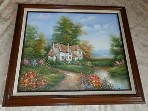 C MANNING Oil PAINTING County Cottage by a Stream Wood Frame Colorful Flowers