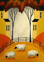 ACEO Folk art print THREE FLUFFY SHEEP farm pet country landscape tree animal DC