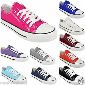 LADIES CANVAS SHOES WOMENS GIRLS LACE UP PLIMSOLLS PUMPS SNEAKER TRAINER SKATER
