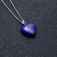 Natural Gemstone Blue Heart Lapis Necklace Crystal Chakra Healing Pendant Chain