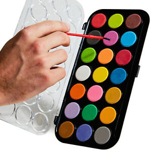 21 Color Vibrant Basics Watercolor Paint Set with Brush by Eucatus