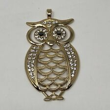 OWL Rhinestone Goldtone Large Necklace Pendant 3.5""