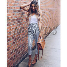 UK Womens High Waist Paperbag Cigaratte Trousers Striped Ladies Pants Size 6-16