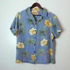 Caribbean Joe Women's 1X 100% Rayon Floral Palm Tree Hawaiian Shirt