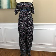 Flying Tomato Small Jumpsuit Off the Shoulder Pants Suit Boho Floral Women's NWT