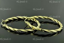 14k solid yellow gold Twisted  hollow hoop earring 2.80 gram 1 3/8 inch #7551