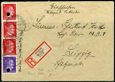 WWII II ERA GERMANY CHANCELLOR FRANKED  STAMPS ON REG- COVER KRIPPEN TO LEIPZIG