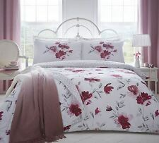 Gran Acuarela Estilo Flores Rojo Rosa Mezcla de algodón super rey funda nórdica