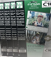"""Lot of 4 Holson C10 Refill 40 Pocket 4x6"""" Photo Pages with Memo R-GTTM46 Sealed"""