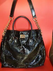 Large Michael Kors Hamilton N/S Satchel Shoulder bag Black Patent Leather