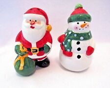 Christmas Salt And Pepper Set Santa With Snowman By Pfaltzgraff Collectibles