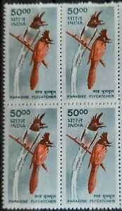 121.INDIA 2000 STAMP BIRDS, PARADISE FLY CATCHER BLOCK OF 4 . MNH