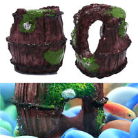 Aquarium Fish Tank Barrel Resin Ornament Cave Landscaping Furnishing Decor HK