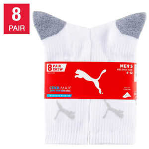 NWT PUMA 8 Pack Men's Cool Cell Crew Socks White/Black Shoe Size 6-12
