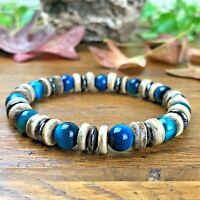 Bracelet Femme Homme Perles Naturelles Oeil de Faucon Bois coco Hématite