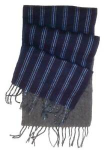 Chaps Adult Unisex Reversible Striped Navy Blue/Solid Gray Scarf One Size