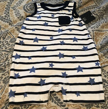 INFANT BOYS BABY GAP NAVY BLUE Stars And StrTANK SHORTALL OUTFIT SIZE 3-6 MONTHS