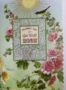 Carol Wilson Fine Arts Get Well Soon Card Sun Pink Roses Glitter Embossed Diecut