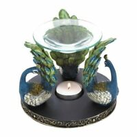 Peacock Plume Oil Warmer/Oil Burner with Design of Trio Peacocks