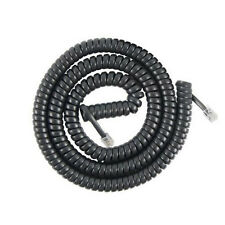 20' ft Telephone Extension COIL Cord Phone Cable RJ-11 4 Wire Line W Jacks Black