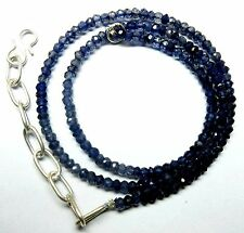 51.50 Ct Natural Iolite Micro Faceted Beads 19.5''Inch Necklace 3.5mm S113