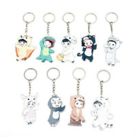 KPOP EXO Keychain Cute Cartoon Chanyeol Character Acrylic Key Ring Baekhyun Suho
