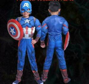 Avengers Captain America Muscle Chest Kid Fancy Dress Outfit Costume Party +++A