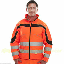 Softshell B SEEN Hi Viz Jacket Mens Breathable Windproof Waterproof Work Coat