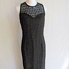 New listing Black Beaded Dress L Full Length Sexy Slit Maxi Vintage Lawrence Kazar Silk