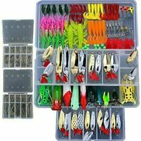226 Pcs Soft Plastic Fishing Lures Tackle Kit Bionic Bass Trout Salmon  UK POST