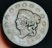 1820 Large Cent Coronet Head 1C Ungraded Early Worn Date US Copper Coin CC3993