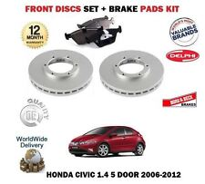 FOR HONDA CIVIC 1.4i 5 DOOR DSi 2006-2012 NEW FRONT BRAKE DISCS + BRAKE PADS SET