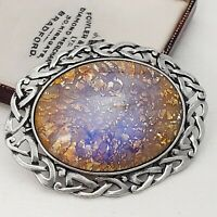 Vintage Gold Glass Fire Opal LARGE Pewter Celtic Scottish Brooch Pin