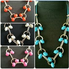 Blue, Red, Pink OR Ivory Chunky Acrylic Bead Goldtone Suede Statement Necklace