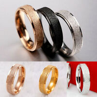 Men Women Wedding Band Ring Rose Gold Silver Frosted 361L Stainless Steel Sz7-12