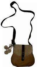 UGG Tan Brown Leather & Sheepskin-Brown Adj Canvas Strap-Detach Keychain-NWOT