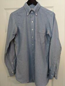 Drake's Oxford Shirt Blue Slim 15 38 OCBD Button Down Collar Made England LNWOT