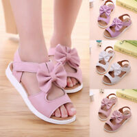 Fashion Summer Children Kids Girls Sandals Bowknot Casual Flat Pricness Shoes