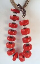 """Chunky Red Coral Crystal Beaded Bracelet Toggle Clasp 8.5"""""""