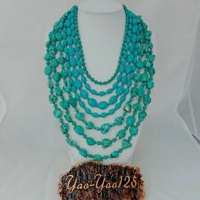 19'' 7 Strands Blue Turquoise Crystal Necklace